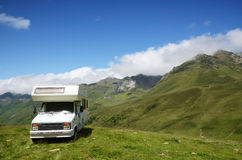 Mobile home in the summer Pyrenees Royalty Free Stock Photography