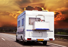 Camping car on the higway Stock Image