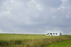 Camping car in landscape Stock Images