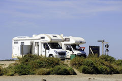 Camping car park by the sea Royalty Free Stock Photos