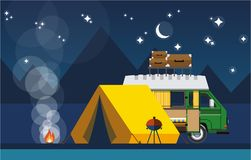 Camping. Car with a tent and bonfire in the evening in a flat style. The concept of  and outdoor recreation. Vector illustration Eps10 file royalty free illustration