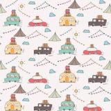 Camping Car Vector Pattern Background. vector illustration