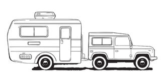 Camping caravan. Motorhome, amper car with trailer. Black and white hand drawn illustration. Stock Photo