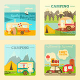 Camping Caravan Set. Camping with Family Trailer Caravan. Campsite Landscape with RV Traveler Truck and Tent. Outdoor Traveling Vacation. Posters Set. Vector stock illustration