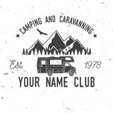 Camping and caravaning club. Vector illustration. Royalty Free Stock Images