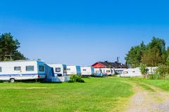 Camping with caravans in nature park Stock Images