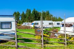 Camping with caravans in nature park Royalty Free Stock Images