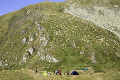 Camping at the Carpathian mountains in Romania. Royalty Free Stock Photo