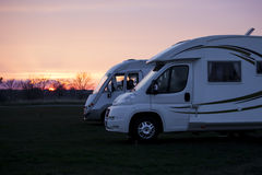 Camping Cars in Sunset Stock Photography