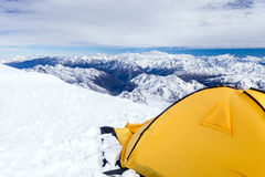 Camping in Caucasus Mountains on Elbrus landscape Stock Images