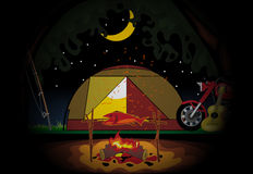 Camping celebration at night with a tent in the middle of wild nature. Digital vector image Royalty Free Stock Image