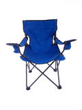 Camping Chair. Blue folding chair for camping and outdoor use Stock Photo
