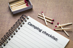 Camping checklist concept Stock Photos