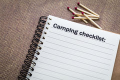 Camping checklist concept Stock Photography