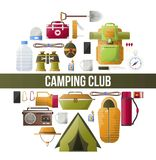 Summer camping club vector camp poster. Camping club poster for scout adventure and mountaineering expedition. Vector camp and hiking tools icons of tent Stock Images