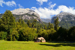 Camping in Cochamo national park, Patagonia. Basecamp for climbing and mountaineering in Cochamo national park, Patagonia, Chile near Torres del Paine Stock Image