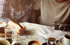 Camping Coffee Planning Map Direction Concept Royalty Free Stock Photos