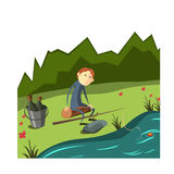 Camping collection with people. Collection  flat illustrations camping. Fishing. Man catches fish with bait Stock Photos