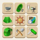 Camping color icons. Vector illustration Stock Image