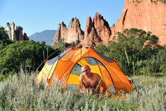 Camping in Colorado Mountains. Camping in Colorado, morning hours Stock Photography