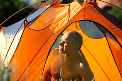 Camping In the Colorado Rocky Mountains. Camping in Colorado, morning hours Royalty Free Stock Photos