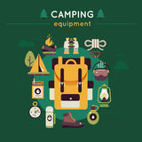 Camping Colored Composition Stock Image