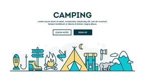 Camping, colorful concept header, flat design thin line style. Illustration Royalty Free Stock Image