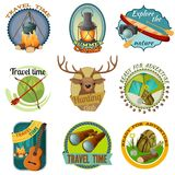 Camping Colorful Emblems Stock Image