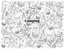Camping colorless set vector illustration. Camping design colorless set vector illustration. Coloring book. Black and white line art Stock Image