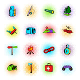 Camping comics icons Stock Images