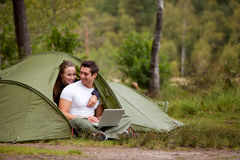 Camping with Computer Royalty Free Stock Image