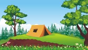 Camping con paisaje hermoso de la naturaleza ilustración del vector