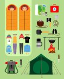 Camping concept. Boy and girl in sleeping bags Stock Image