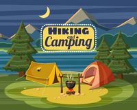 Camping concept, cartoon style Stock Photo