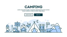 Camping, concept header, flat design thin line style. Illustration Royalty Free Stock Images