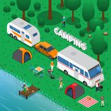 Camping Concept Illustration. Camping concept with fishing trailer and family symbols isometric vector illustration Royalty Free Stock Images