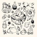 camping conjunto stock de ilustración