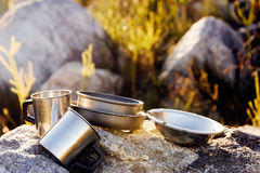 Camping cooking gear Stock Photography