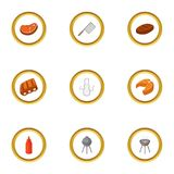 Camping cooking icons set, cartoon style. Camping cooking icons set. Cartoon style set of 9 camping cooking vector icons for web design Stock Photography