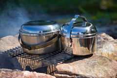 Camping cookware Stock Images