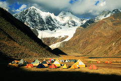 Camping in Cordiliera Huayhuash Stock Image