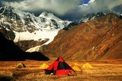 Camping in Cordiliera Huayhuash Royalty Free Stock Image