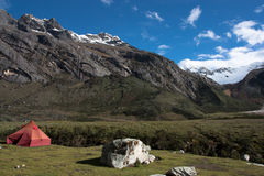 Camping in Cordillera Blanca, Peru. Quebrada Ishinca mountain range in Huascaran National Park in the Cordillera Blanca, a range of the Andes, in Ancash, Peru royalty free stock photos