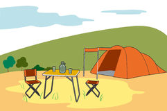 Camping in the countryside. Tent and camping gear in the countryside Royalty Free Illustration