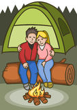 Camping Couple stock illustration