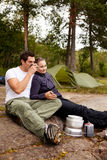 Camping Couple Cooking Royalty Free Stock Images