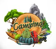 Camping, 3d vector emblem. On white background royalty free illustration