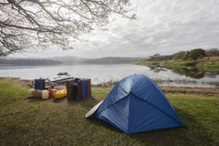 Camping Dam Tent Boats Landscape Royalty Free Stock Photos