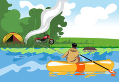 Camping day celebration, river fishing with a tent in the middle of wild nature. Digital vector image Royalty Free Stock Photography