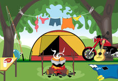 Camping day celebration with a tent in the middle of wild nature. Digital vector image Stock Images